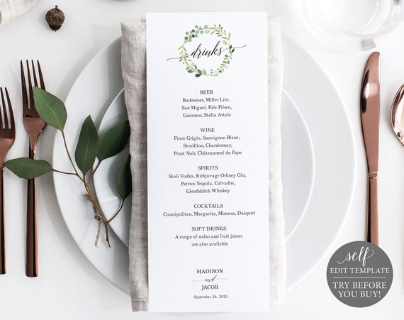 Greenery Wedding Drinks Menu, Wedding Drinks Menu Template, Printable Drinks Menu, Editable Drinks Menu, Instant Download