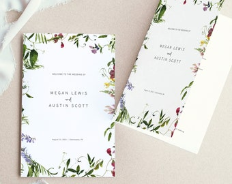 Wedding Program Template, Summer Garden Greenery, Folded, Wedding Ceremony Program, Printable, Templett INSTANT Download, Editable