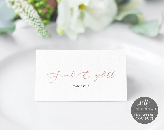 Place Card Template, TRY BEFORE You BUY, 100% Editable Instant Download, Elegant Rose Gold