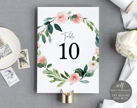 Table Number Template, Blush Pink Floral Greenery, TRY BEFORE You BUY, Editable Instant Download