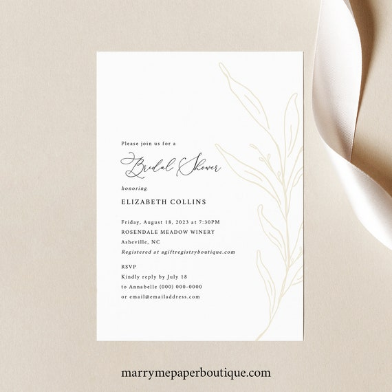Bridal Shower Invitation Template, Botanic Calligraphy, Bridal Shower Invite, Printable, Editable, Gold Leaf, Templett INSTANT Download