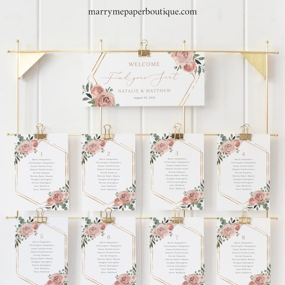 Seating Chart Cards Template, Dusky Pink Floral, Wedding Seating Cards, Printable, Editable, Includes Header Card, Templett INSTANT Download