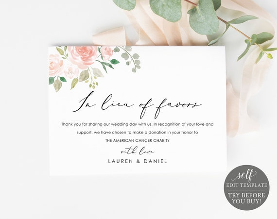 In Lieu of Favors Card Template, Editable Instant Download, TRY BEFORE You BUY, Pink Floral