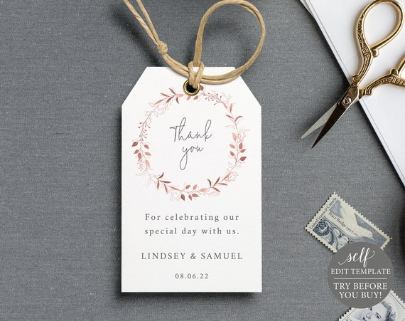 Favor Tag Template, Order Edit & Download In Minutes, Try Before Purchase, Templett, Rose Gold Wreath