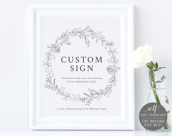Create Multiple Wedding Signs! TRY BEFORE You BUY, Editable Instant Download, Botanical Floral Sign Template
