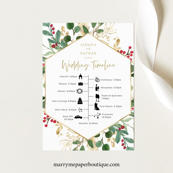Wedding Itinerary Card Template, Winter Wedding, Printable Wedding Timeline Card, Templett INSTANT Download, Winter Berries, Editable