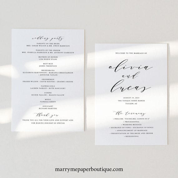 Wedding Program Template, Elegant Calligraphy, Wedding Ceremony Program, Printable, Templett INSTANT Download, 5x7, Fully Editable