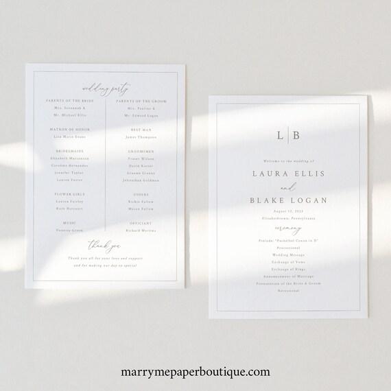 Wedding Program Template, Monogram & Border, Elegant Wedding Ceremony Program, Printable, 5x7, Editable, Templett INSTANT Download