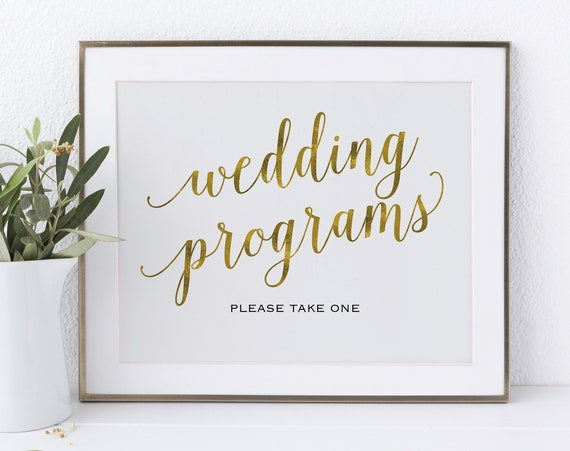 Gold Please Take a Program Sign, Wedding Program, Wedding Printable, Wedding Sign, Please Take One, PDF Instant Download, MM01-3