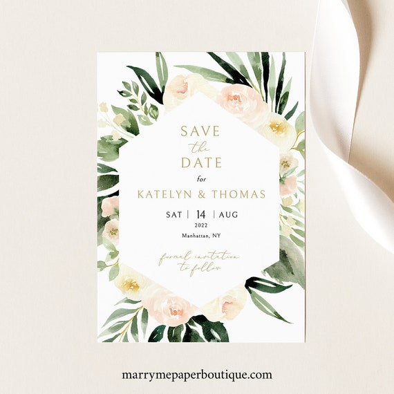 Save the Date Card Template, Blush Ivory Greenery, Templett Instant Download, Editable & Printable, Try Before You Buy