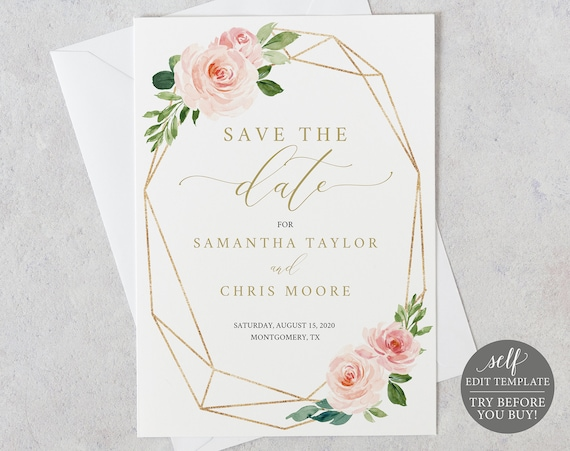 TRY BEFORE You BUY! Save the Date Template, Fully Editable Printable, Instant Download, Blush Floral