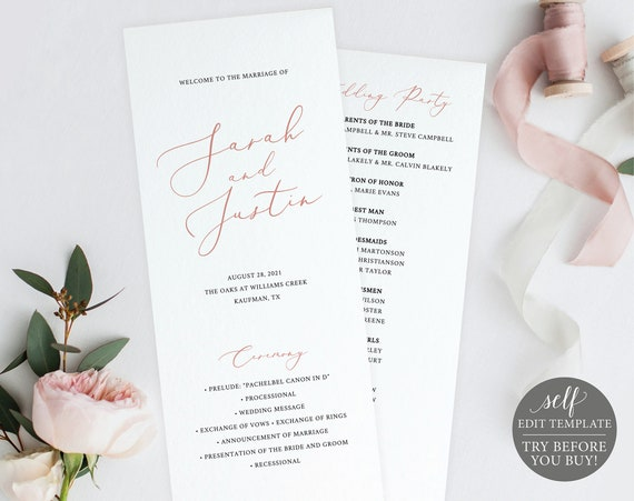 Program Template, TRY BEFORE You BUY,  Editable Instant Download, Elegant Rose Gold