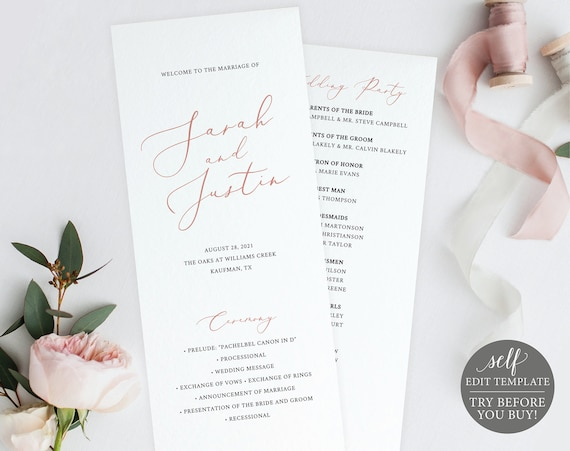 Program Template, TRY BEFORE You BUY, 100% Editable Instant Download, Elegant Rose Gold