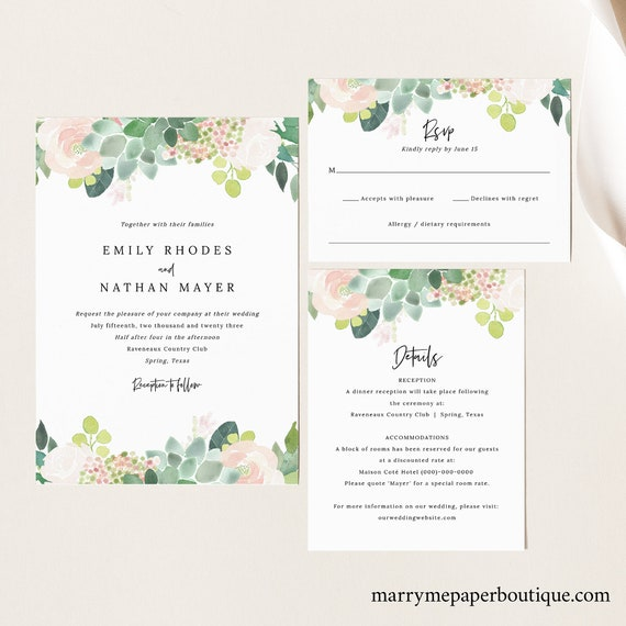 Succulent Floral Wedding Invitation Template Set, Greenery, Invite Set, Printable, Details, RSVP, Templett, INSTANT Download, Editable