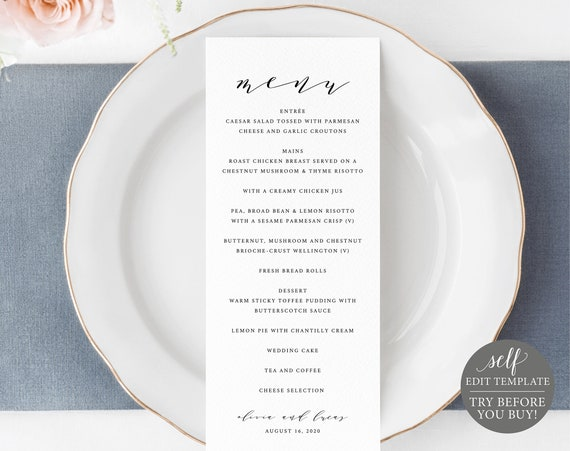 Wedding Menu Template, TRY BEFORE You BUY, 100% Editable Text, Printable Menu Card, Elegant Dinner Menu, Self Edit, Instant Download