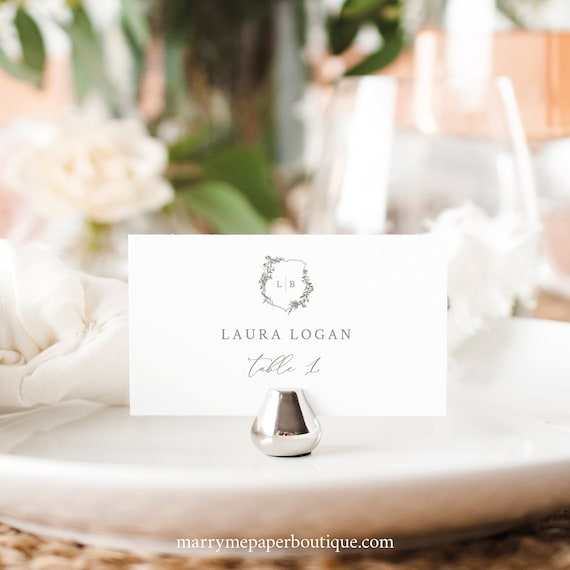 Wedding Place Card Template, Elegant Botanical Crest, Tent & Flat Versions, Fully Editable Place Card, Printable, Templett INSTANT Download