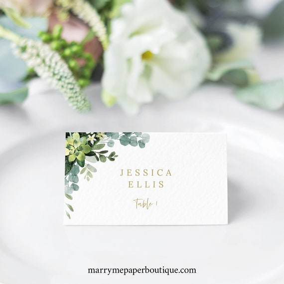 Wedding Place Card Template, Lush Greenery, Printable Seating Card, Templett Editable, INSTANT Download