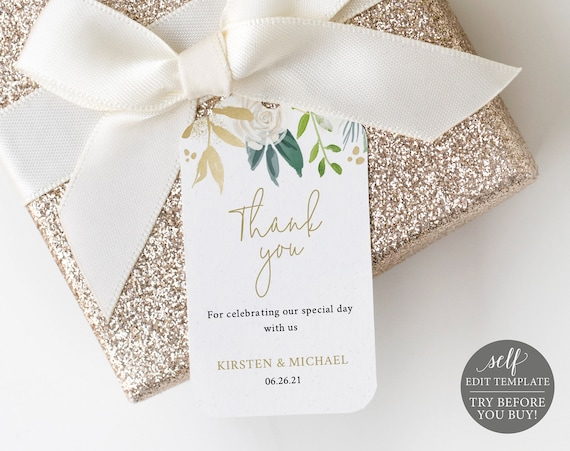 Thank You Tag Template, 100% Editable Instant Download, White & Gold Floral, TRY BEFORE You BUY