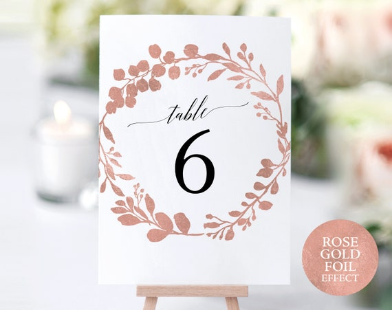 Rose Gold Table Numbers Template, Printable Table Numbers, Table Number Template, Rose Gold Wedding Printable, PDF Instant Download, MM07-7