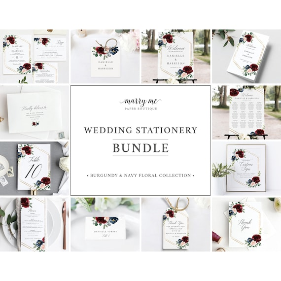 Wedding Invitation Template Bundle, Burgundy Navy, Wedding Bundle Templates, Template Kit, Demo Available, Templett Instant Download