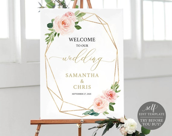 Welcome to our Wedding Sign Template, TRY BEFORE You BUY, Fully Editable, Blush Floral Geometric, Instant Download