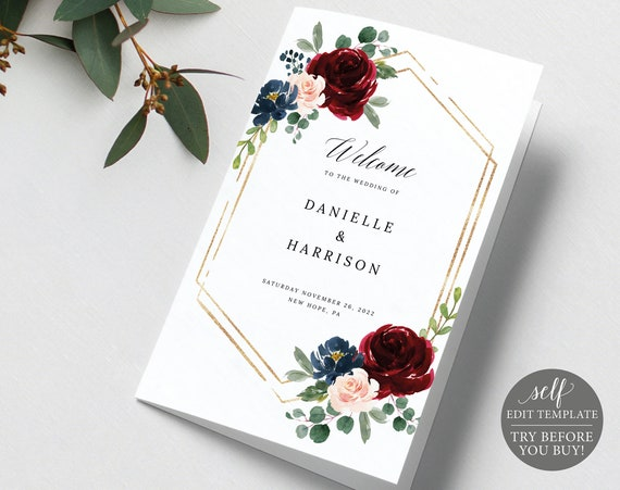 Wedding Program Template, Folded Printable, Demo Available, Editable Instant Download, Burgundy Navy