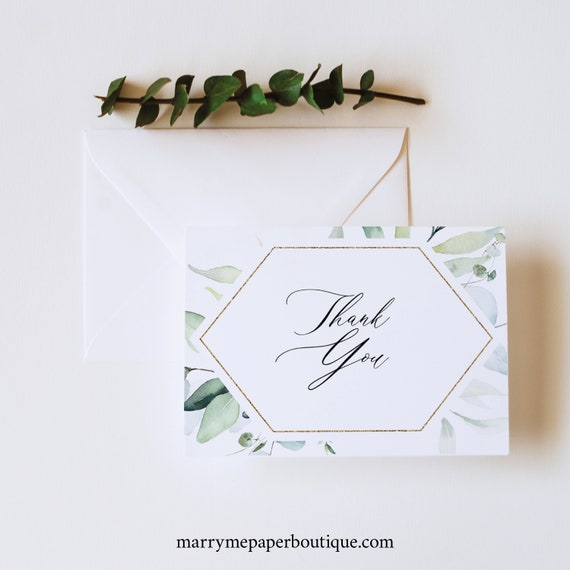 Thank You Card Template, Classic Greenery Wedding, Folded Thank You, Printable, Templett INSTANT Download, Editable
