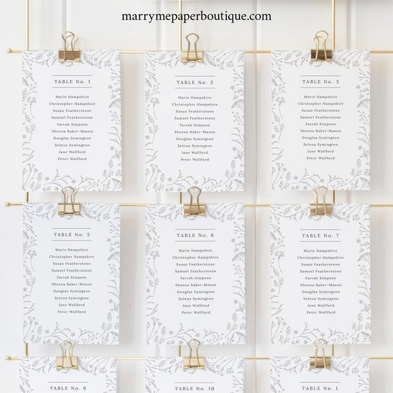Winter Wedding Seating Cards Template, Botanical Seating Chart Cards, Templett, Editable, Printable, INSTANT Download
