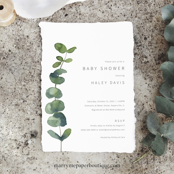 Baby Shower Invitation Template, Elegant Eucalyptus, Printable Baby Shower Invite, Greenery, Editable, Boy & Girl, Templett INSTANT Download