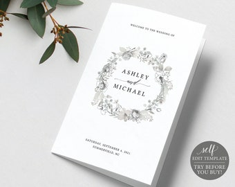 Wedding Program Template, Neutral Floral Folded, Free Demo Available, Editable Instant Download