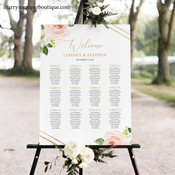 Seating Chart Template, Blush Floral Hexagonal, TRY BEFORE You BUY, Editable Instant Download