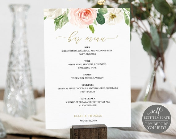 Bar Menu Template, Editable Instant Download, Blush Floral 5x7, TRY BEFORE You BUY