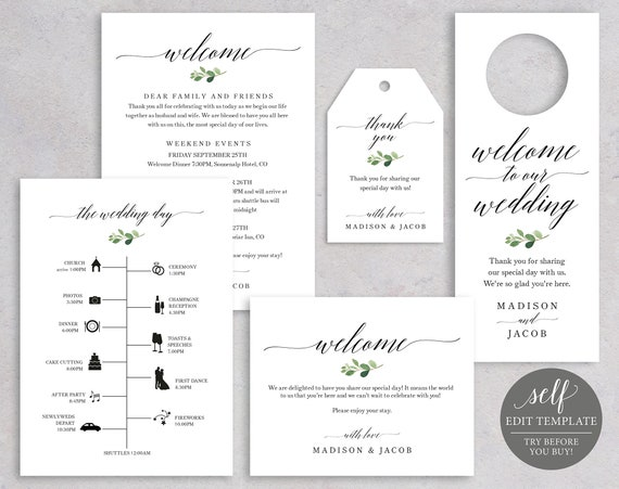 Wedding Guest Welcome Set Templates, Greenery Bundle, Fully Editable Instant Download, TRY BEFORE You BUY