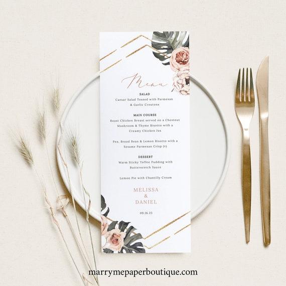 Wedding Menu Card Template, Tropical Leaf, Dusky Pink Flowers, Boho Wedding Table Menu, Printable, Editable, Templett INSTANT Download