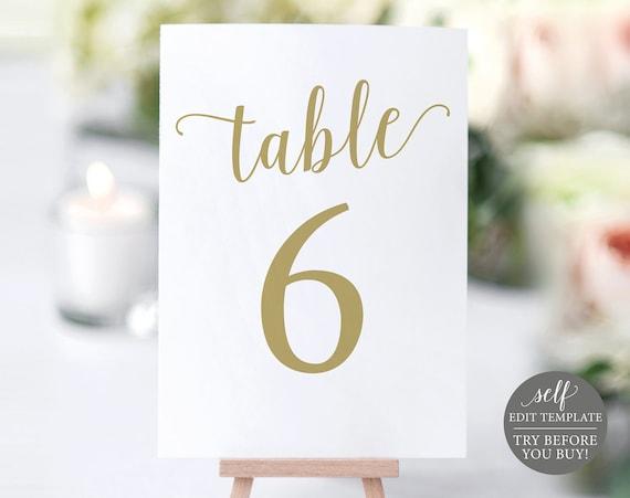 Table Number Template, Modern Script Gold, Editable & Printable Instant Download, TRY BEFORE You Buy, Templett