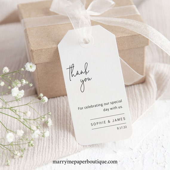 Favor Tag Template, Minimalist Elegant, Try Before Purchase, Editable & Printable Instant Download