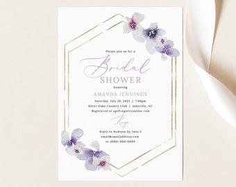 Bridal Shower Invitation Template, Delicate Lilac Flowers, Purple Hydrangea Bridal Shower Invite, Printable, Templett INSTANT Download