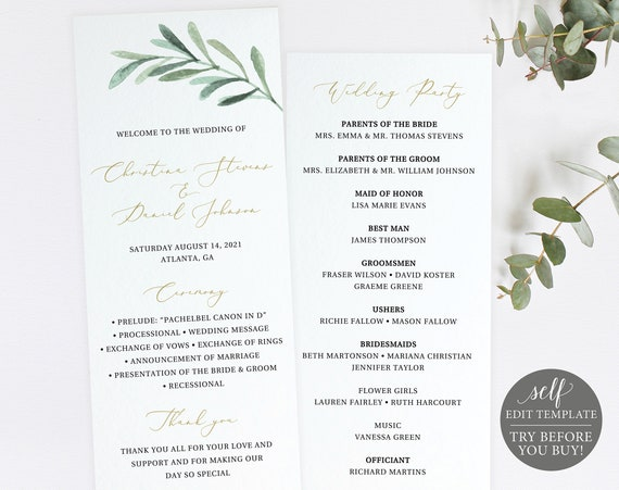 Wedding Program Template, Greenery Leaf, Editable Instant Download, TRY BEFORE You BUY