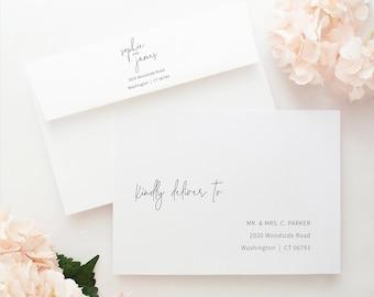Envelope Address Template, Minimalist Elegant, Try Before Purchase, Editable & Printable Instant Download