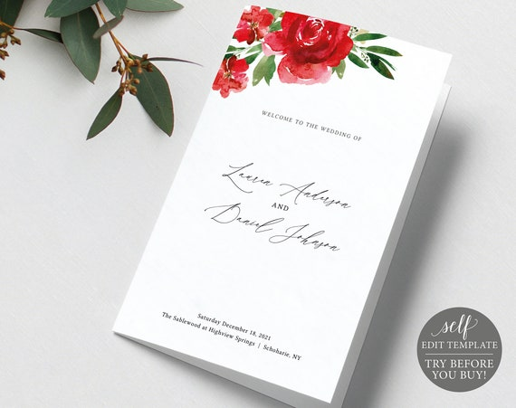 Wedding Program Template Folded, Editable Instant Download, Free Demo Available, Red Floral