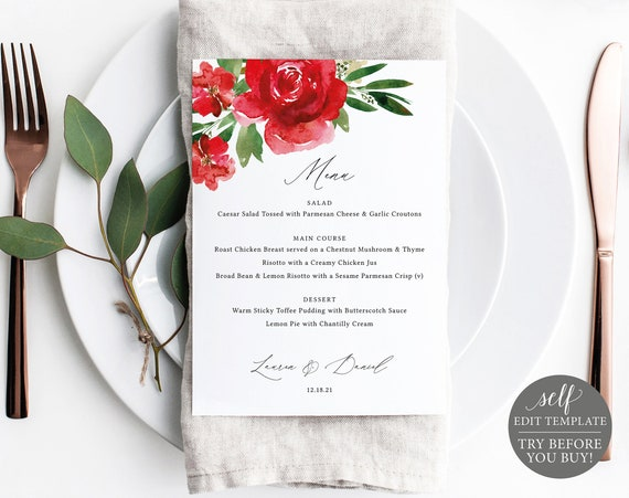 Menu Template, Red Floral 5x7, Free Demo Available, Editable Instant Download