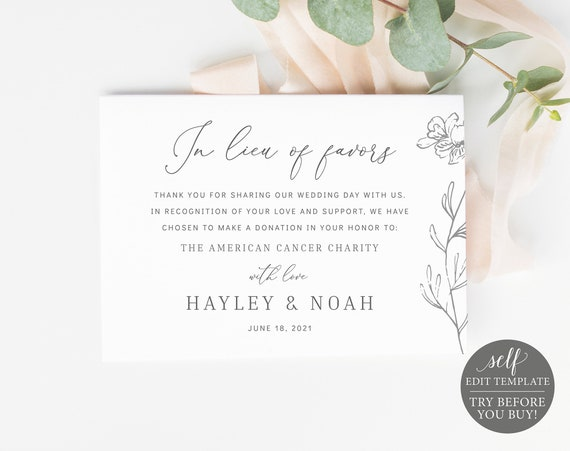 In Lieu of Favors Card Template, FREE Demo Available, Elegant Botanical, Editable Instant Download