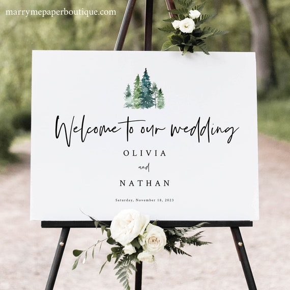 Wedding Welcome Sign Template, Rustic Pine Forest, Wedding Sign Printable, Editable, Templett, Pine Trees, INSTANT Download