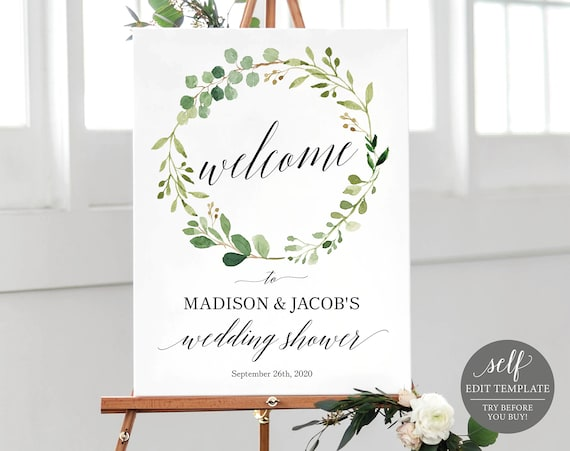 Greenery Wedding Shower Welcome Sign Template, Printable Couples Shower Template, Bridal Shower Template, Instant Download