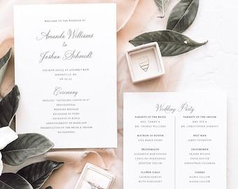 Wedding Program Template, Traditional Wedding, Calligraphy, Printable, Wedding Ceremony Program, Templett INSTANT Download, 5x7, Editable