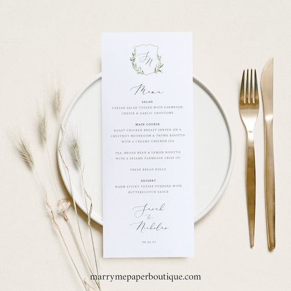 Wedding Menu Template, Greenery Wedding Crest, Printable Menu Card, Elegant, Templett INSTANT Download, Editable