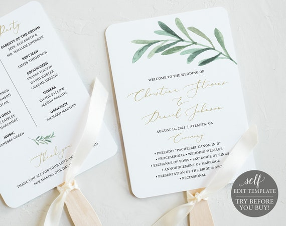 Wedding Program Fan Template, TRY BEFORE You BUY, Editable Instant Download, Greenery Leaf