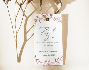 Thank You Favor Tag Template, TRY BEFORE You BUY,  Editable Instant Download, Rose Gold