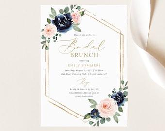 Bridal Brunch Invitation Template, Navy & Blush Floral, Editable Bridal Shower Brunch Invite, Printable, Templett INSTANT Download