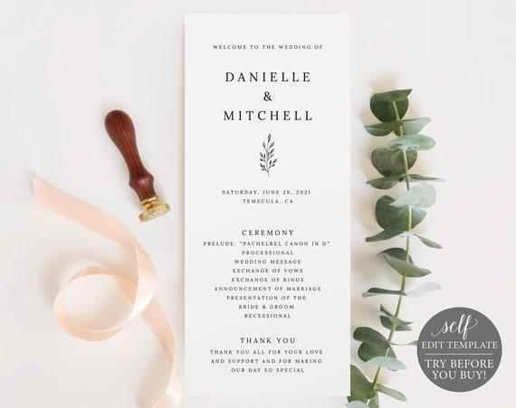 Wedding Program Template, Formal Botanical, Self Edit Instant Download, TRY BEFORE You BUY